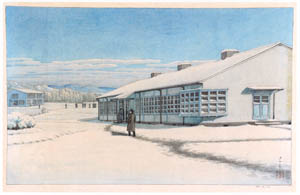 thumbnail Hasui Kawase – Junior College Building (Winter) [from Kawase Hasui 130th Anniversary Exhibition Catalogue]
