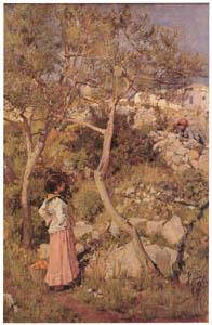 ジョン・ウィリアム・ウォーターハウス – 村のそばの二人のイタリアの女の子 [J.W. Waterhouseより]のサムネイル画像