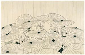 小村雪岱 – おせん(傘) [版画芸術 146号より]のサムネイル画像