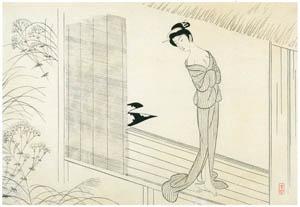 小村雪岱 – おせん(縁側) [版画芸術 146号より]のサムネイル画像