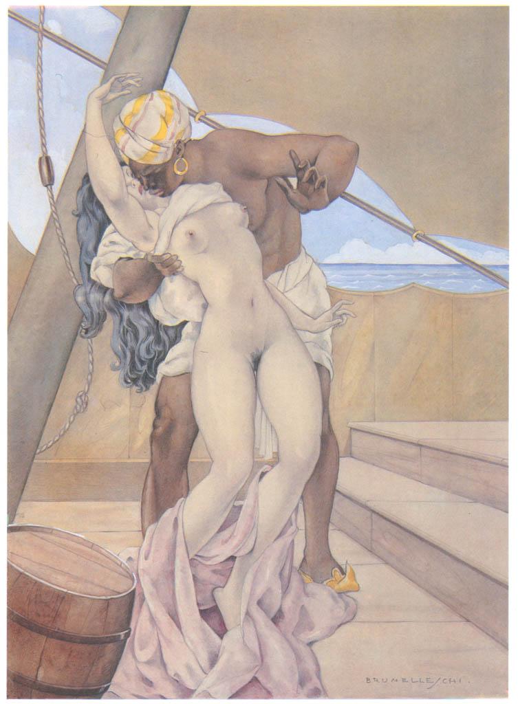 Umberto Brunelleschi – Bozzetto di una tavola per Candide di Voltaire [from Umberto Brunelleschi Illustrazioni 1930-1949]