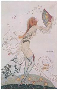 ウンベルト・ブルネレスキ – シルエッツ・ガランテスシリーズのポストカード [Umberto Brunelleschi Illustrazioni 1930-1949より]のサムネイル画像