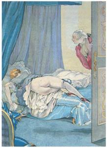 ウンベルト・ブルネレスキ – ルネ・ボワレーヴ著「公園で愛のレッスン」の挿絵2 [Umberto Brunelleschi Illustrazioni 1930-1949より]のサムネイル画像