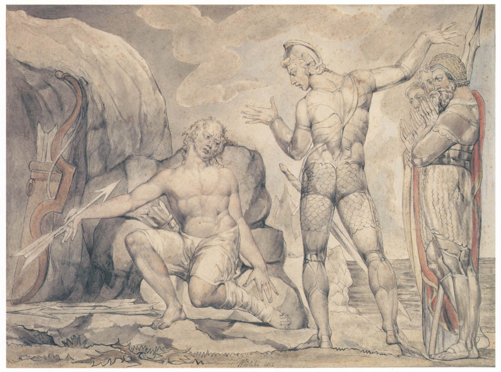 William Blake – Philoctetes and Neoptolemus at Lemnos [from Winthrop Collection of the Fogg Art Museum]