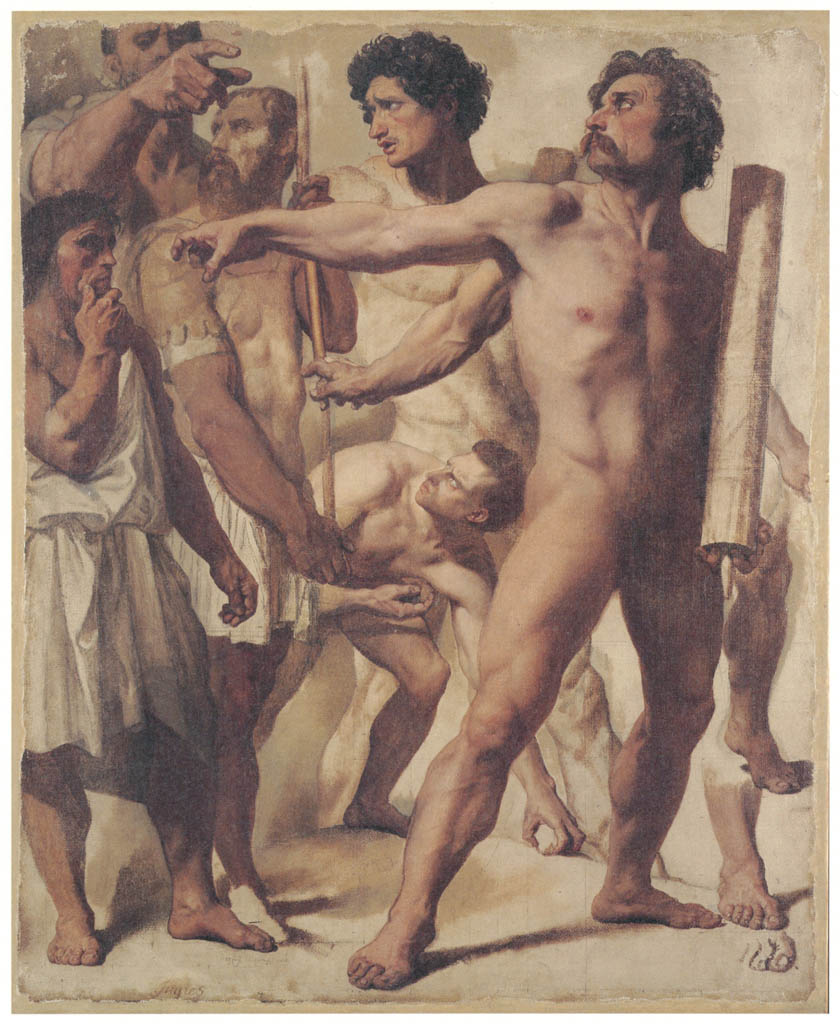 """Jean-Auguste-Dominique Ingres – Studies for """"The Martyrdom of St. Symphorien"""" (Lictors, Stone-Thrower, and Spectator) [from Winthrop Collection of the Fogg Art Museum]"""