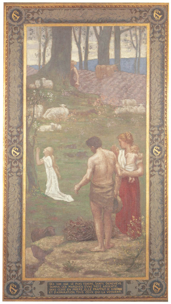 Pierre Puvis de Chavannes – St. Genevieve as a Child at Prayer [from Winthrop Collection of the Fogg Art Museum]
