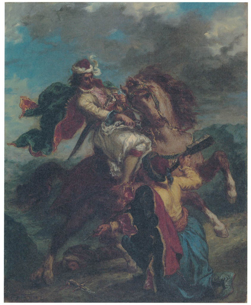 Eugène Delacroix – A Turk Surrenders to a Greek Horseman [from Winthrop Collection of the Fogg Art Museum]