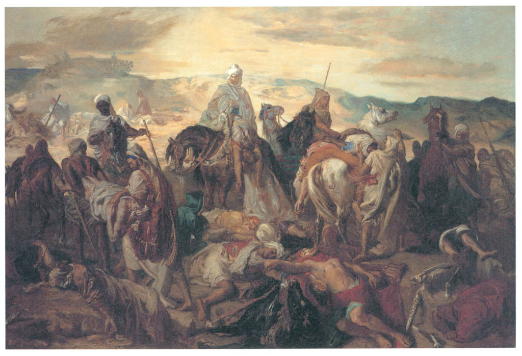 Théodore Chassériau – Arab Horsemen Carrying Away Their Dead [from Winthrop Collection of the Fogg Art Museum]