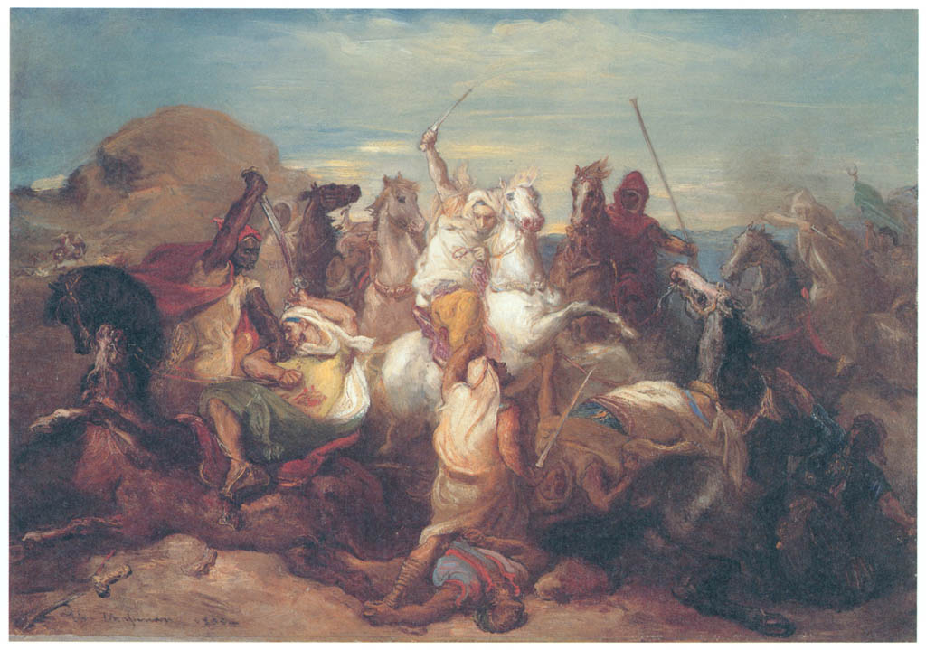 Théodore Chassériau – Arab Combat [from Winthrop Collection of the Fogg Art Museum]