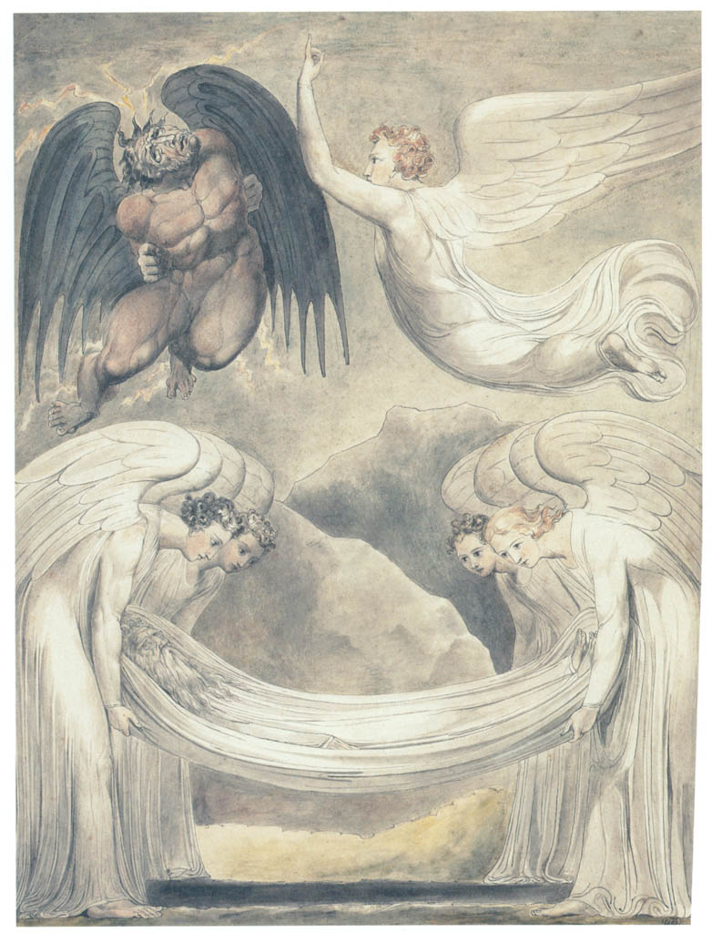 William Blake – The Devil Rebuked (The Burial of Moses) [from Winthrop Collection of the Fogg Art Museum]
