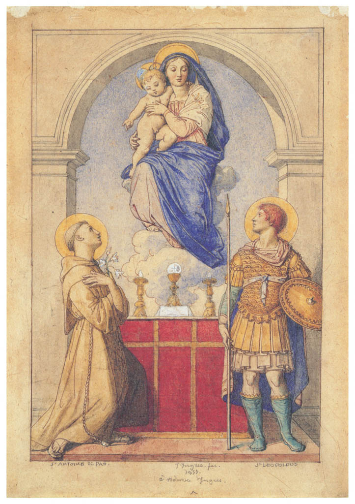 Jean-Auguste-Dominique Ingres – The Virgin and Child Appearing to Saints Anthony of Padua and Leopold of Carinthia [from Winthrop Collection of the Fogg Art Museum]