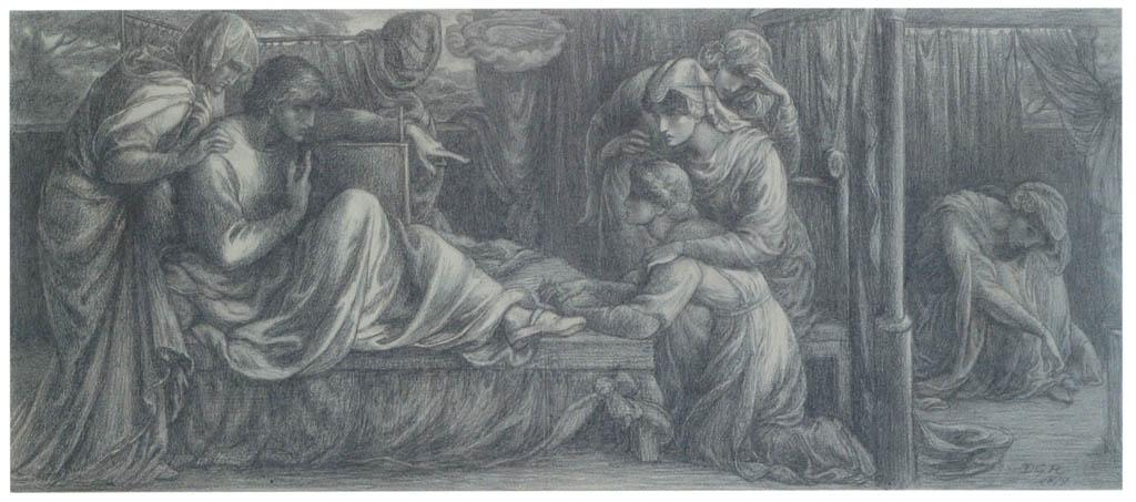 Dante Gabriel Rossetti – Study for Predella No. 2, for Dante's Dream: Dante Awakening from His Dream [from Winthrop Collection of the Fogg Art Museum]