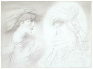 シメオン・ソロモン – 癒してくれる夜と傷ついた愛 [ウィンスロップ・コレクション フォッグ美術館所蔵19世紀イギリス・フランス絵画 より]のサムネイル画像