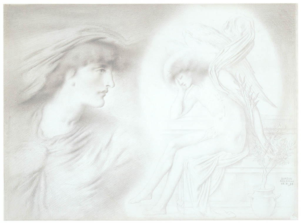 Simeon Solomon – The Healing Night and Wounded Love [from Winthrop Collection of the Fogg Art Museum]