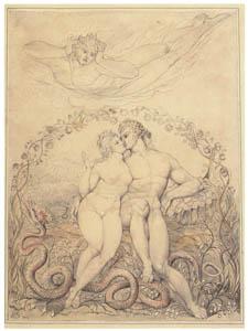 ウィリアム・ブレイク – アダムとエヴァの抱擁をみつめるサタン [ウィンスロップ・コレクション フォッグ美術館所蔵19世紀イギリス・フランス絵画 より]のサムネイル画像