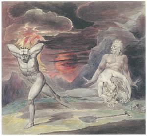 ウィリアム・ブレイク – 神の怒りから逃れるカイン (アダムとエヴァによって発見されるアベルの遺体) [ウィンスロップ・コレクション フォッグ美術館所蔵19世紀イギリス・フランス絵画 より]のサムネイル画像