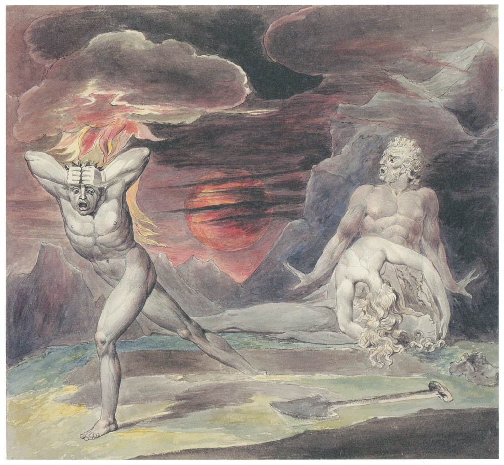 William Blake – Cain Fleeing from the Wrath of God (The Body of Abel Found by Adam and Eve) [from Winthrop Collection of the Fogg Art Museum]