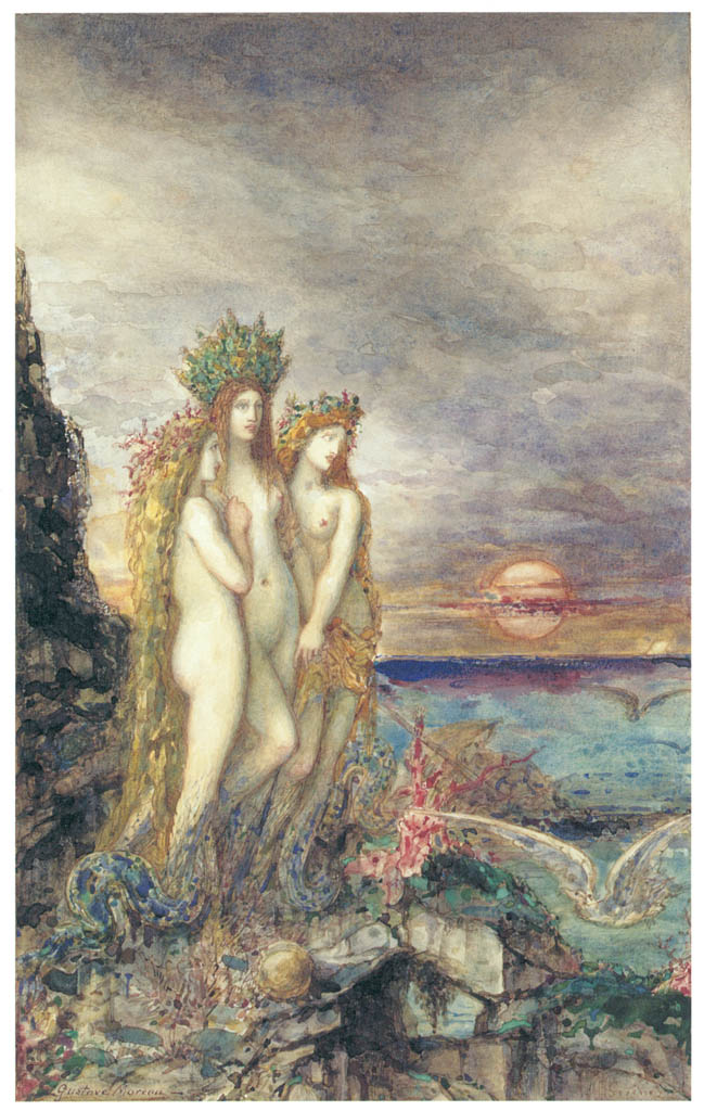 Gustave Moreau – The Sirens [from Winthrop Collection of the Fogg Art Museum]
