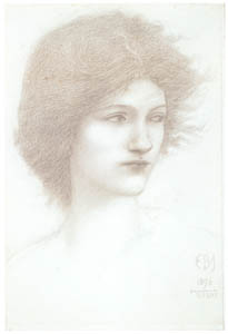 エドワード・バーン=ジョーンズ – 女性頭部:セイレン [ウィンスロップ・コレクション フォッグ美術館所蔵19世紀イギリス・フランス絵画 より]のサムネイル画像