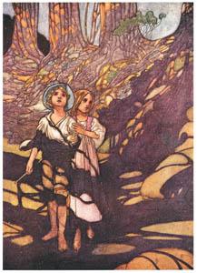 チャールズ・ロビンソン – 森の中のヘンゼルとグレーテル [The Fantastic Paintings of Charles & William Heath Robinsonより]のサムネイル画像