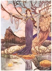 チャールズ・ロビンソン – 金の鞠を取ってくる蛙 [The Fantastic Paintings of Charles & William Heath Robinsonより]のサムネイル画像