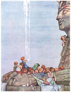 thumbnail William Heath Robinson – They came upon a great stone sphinx (Bill the Minder) [from The Fantastic Paintings of Charles & William Heath Robinson]