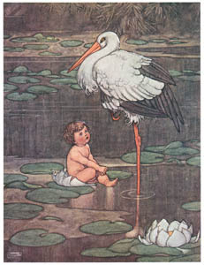 thumbnail William Heath Robinson – The bud opened into a full-blown flower, in the middle of which lay a beautiful child (The Marsh King's Daughter) [from The Fantastic Paintings of Charles & William Heath Robinson]