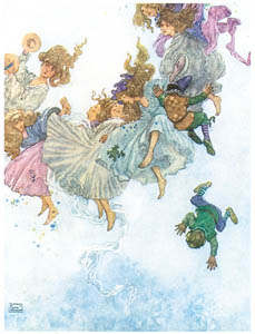 thumbnail William Heath Robinson – Round and Round They Went, Such Whirling and Twirling (Elfin-Mount) [from The Fantastic Paintings of Charles & William Heath Robinson]