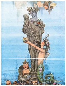 thumbnail William Heath Robinson – She put the statue in her garden (The Little Mermaid) [from The Fantastic Paintings of Charles & William Heath Robinson]