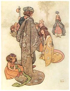 thumbnail William Heath Robinson – Princesses he found in plenty; but whether they were real Princesses it was impossible for him to decide (The Real Princess) [from The Fantastic Paintings of Charles & William Heath Robinson]
