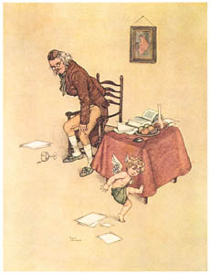 thumbnail William Heath Robinson – He jumped down from the old mans lap and danced around him on the floor (The Naughty Boy) [from The Fantastic Paintings of Charles & William Heath Robinson]