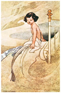 thumbnail Charles Robinson – She felt herself changing. (Margaret's Book) [from The Fantastic Paintings of Charles & William Heath Robinson]