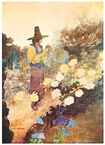 thumbnail Charles Robinson – Hans in his garden. (The Devoted Friend) [from The Fantastic Paintings of Charles & William Heath Robinson]