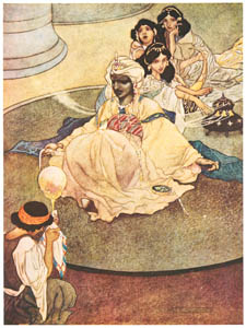 thumbnail Charles Robinson – Frontispiece of the King of the Mountains of the Moon. [from The Fantastic Paintings of Charles & William Heath Robinson]