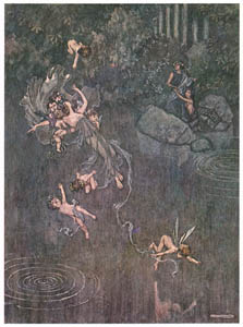 "thumbnail William Heath Robinson – Overon. ""And make him with fair aegle break his faith."" (A Midsummer Night's Dream) [from The Fantastic Paintings of Charles & William Heath Robinson]"