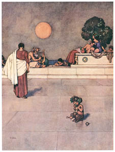"thumbnail William Heath Robinson – Hippolyta. ""Four days will quickly steep themselves in night."" (A Midsummer Night's Dream) [from The Fantastic Paintings of Charles & William Heath Robinson]"