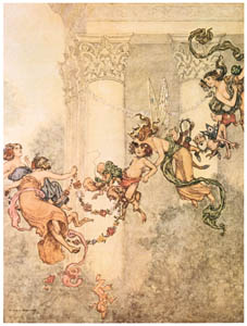 "thumbnail William Heath Robinson – Fairy. ""She never had so sweet a changeling."" (A Midsummer Night's Dream) [from The Fantastic Paintings of Charles & William Heath Robinson]"