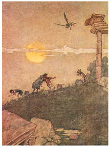 "thumbnail William Heath Robinson – Bottom. ""Why do they turn away? This is knavery of them to make me afeared."" (A Midsummer Night's Dream) [from The Fantastic Paintings of Charles & William Heath Robinson]"