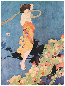 thumbnail Charles Robinson – On a day – alack the day! – Love, whose month is ever May, Spied a blossom passing fair. Playing in the wanton air: (The Songs and Sonnets of William Shakespeare) [from The Fantastic Paintings of Charles & William Heath Robinson]