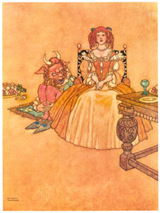 thumbnail William Heath Robinson – Every evening the beast paid her a visit. (Old Time Stories by Charles Perrault) [from The Fantastic Paintings of Charles & William Heath Robinson]