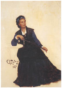 thumbnail Ilya Repin – Woman Playing with Her Umbrella (Study for A Parisian Cafe) [from Ilya Repin: Master Works from The State Tretyakov Gallery]