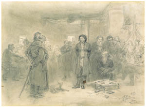 thumbnail Ilya Repin – Arrest of a Propagandist, Study [from Ilya Repin: Master Works from The State Tretyakov Gallery]