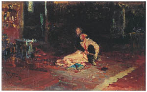 イリヤ・レーピン – 1581年11月16日のイワン雷帝とその息子イワン (習作) [国立トレチャコフ美術館所蔵 レーピン展より]のサムネイル画像