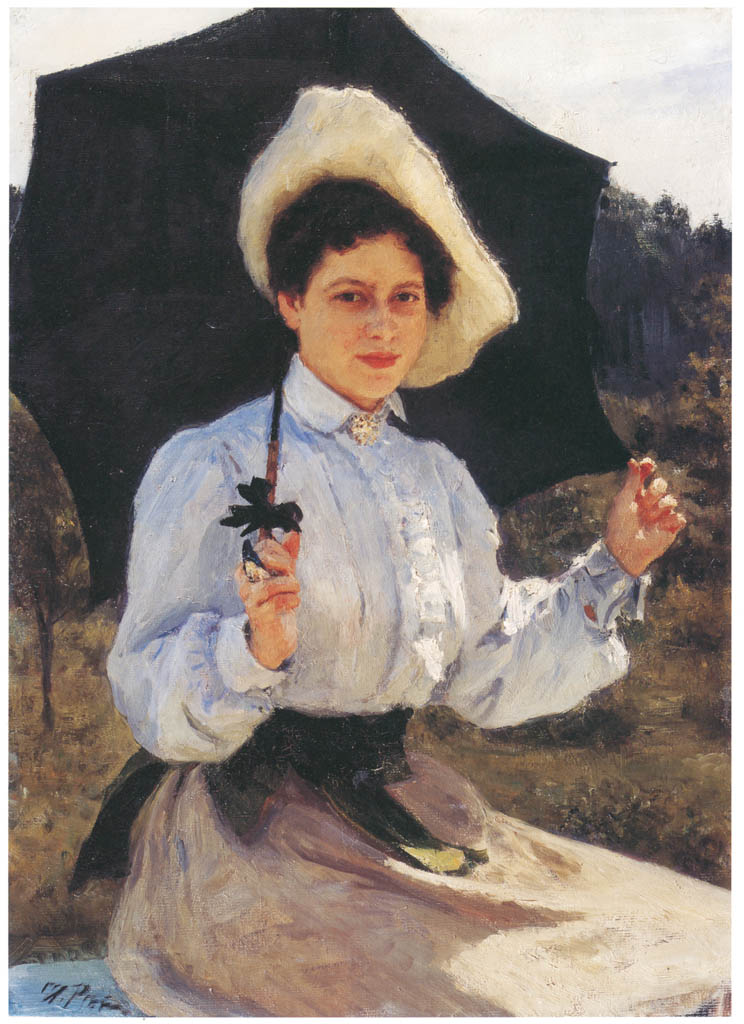 イリヤ・レーピン – 日向で 娘ナジェージダ・レーピナの肖像 [国立トレチャコフ美術館所蔵 レーピン展より] パブリックドメイン画像