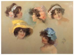thumbnail Jules Chéret – Cinq études de têtes  de femmes [from Jules Chéret]