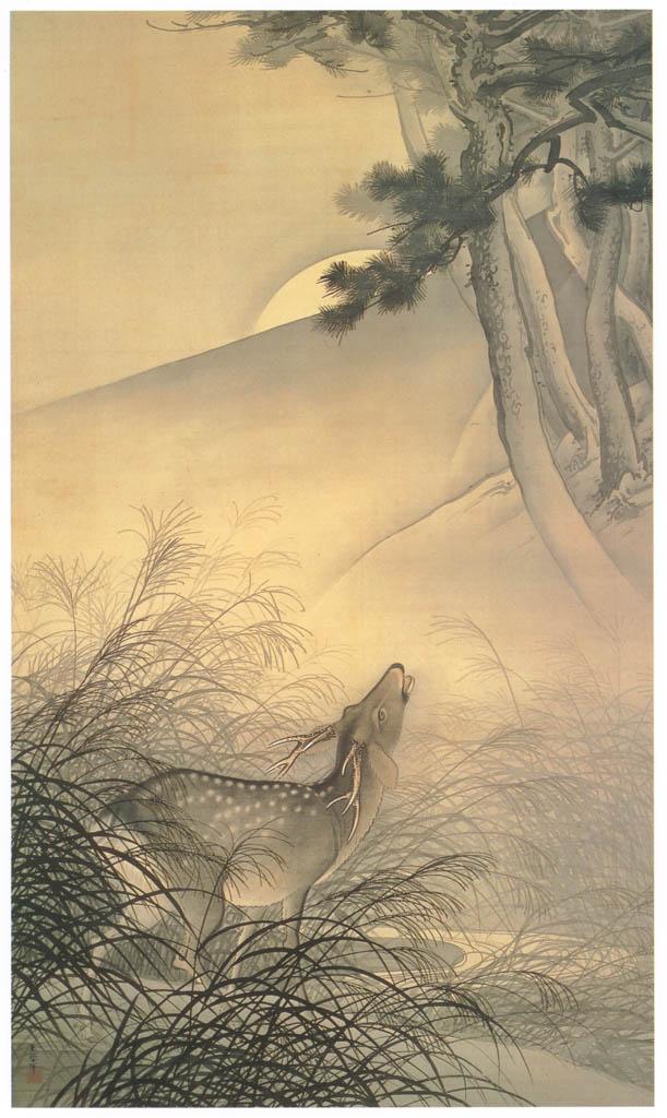 川合玉堂 – 月下鳴鹿 [没後50年 川合玉堂展:時を越えよみがえる日本の自然より] パブリックドメイン画像