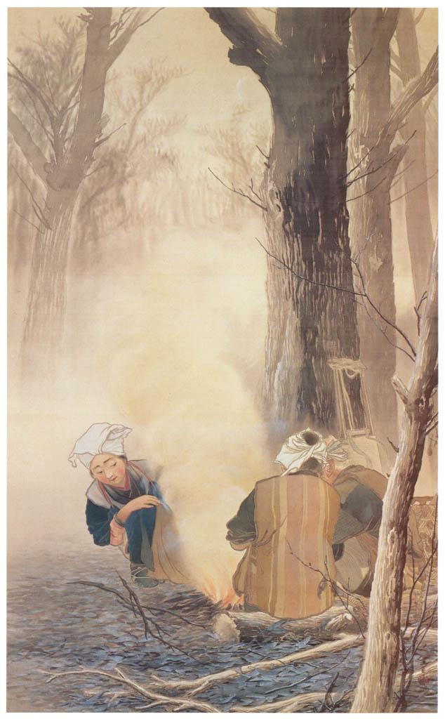 川合玉堂 – 焚火 [没後50年 川合玉堂展:時を越えよみがえる日本の自然より] パブリックドメイン画像