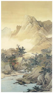 thumbnail Kawai Gyokudō – Mountain Stream and Mountain in Autumn [from The Exhibition of Kawai Gyokudō in memory of the 50th anniversary after his death]