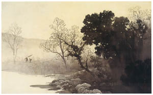 thumbnail Kawai Gyokudō – Evening by Lakeside [from The Exhibition of Kawai Gyokudō in memory of the 50th anniversary after his death]