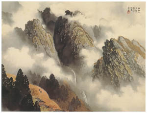 thumbnail Kawai Gyokudō – The mountain rain stopped and it's clearing up [from The Exhibition of Kawai Gyokudō in memory of the 50th anniversary after his death]